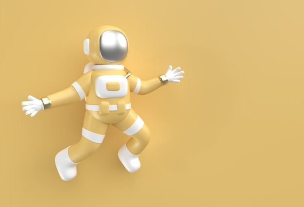 3dレンダリング宇宙飛行士のジャンプアクション3dイラストデザイン。