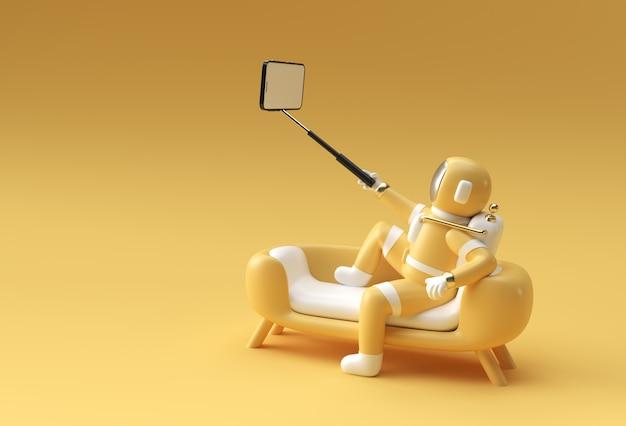 3d render astronaut make selfie 3d illustration design.