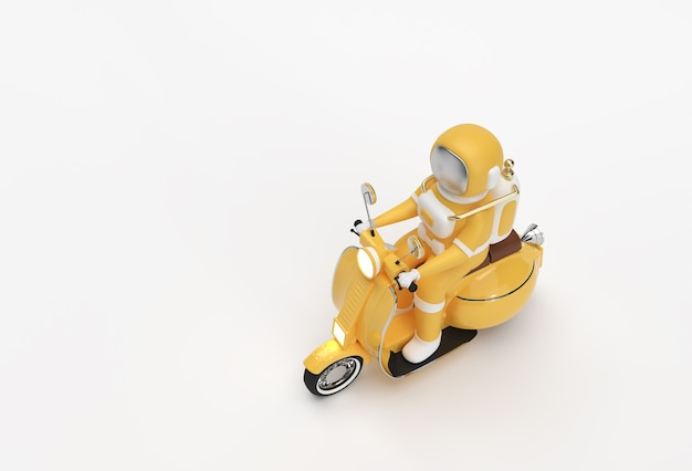 3d render astronaut riding motor scooter side view on a white background.