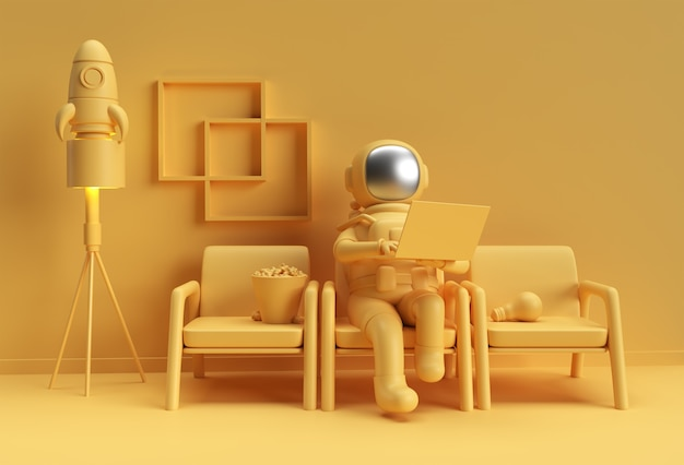 3d render astronaut in spacesuit working on laptop, 3d illustration design.