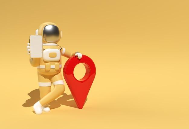 3d визуализации астронавта с указателем карты 3d иллюстрации дизайн.