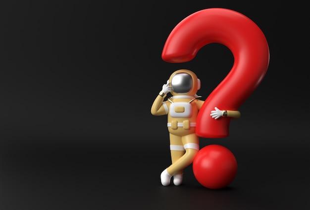 疑問符の付いた3dレンダリング宇宙飛行士は、失望、疲れた白人ジェスチャーの3dイラストデザインを考えます。