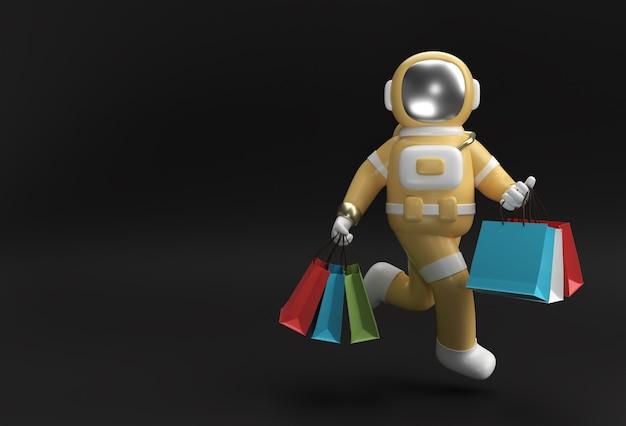 3d визуализации астронавт с сумками для покупок 3d иллюстрации.