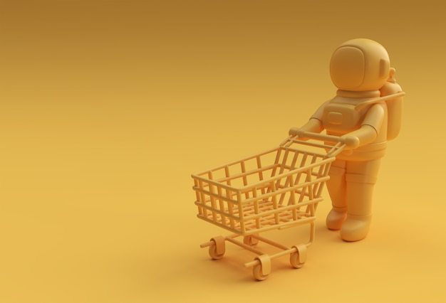 3d render astronaut with shopping cart icon illustration design.