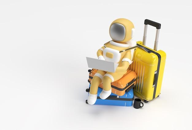 トラベルバッグに座っているラップトップに取り組んでいる3dレンダリング宇宙飛行士3dイラストデザイン。