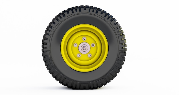 3d render of automotive wheel isolated on white space.