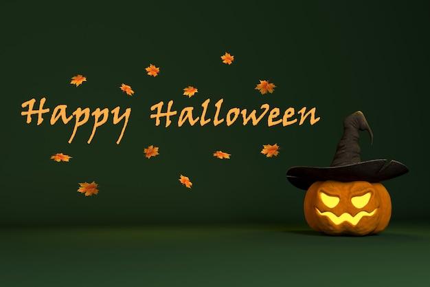 3d визуализация фона для графического дизайна на праздник хэллоуина с тыквой и надписью