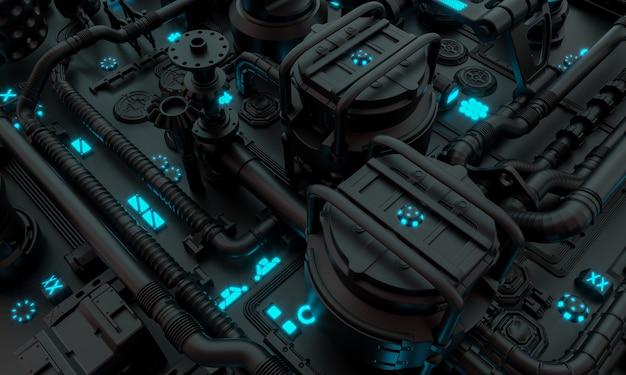 3d визуализация фона футуристической структуры с научно-фантастическими трубами и кабелями