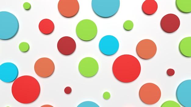 다채로운 원의 3d 렌더링 배경