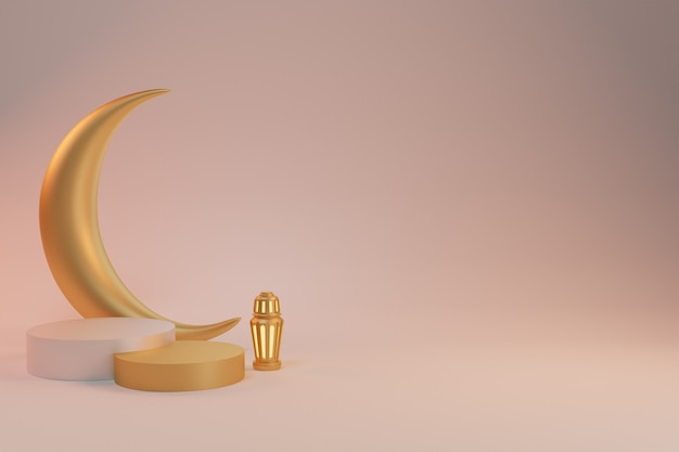 3d визуализация фона рамадан карим с подиумным фонарем и полумесяцем