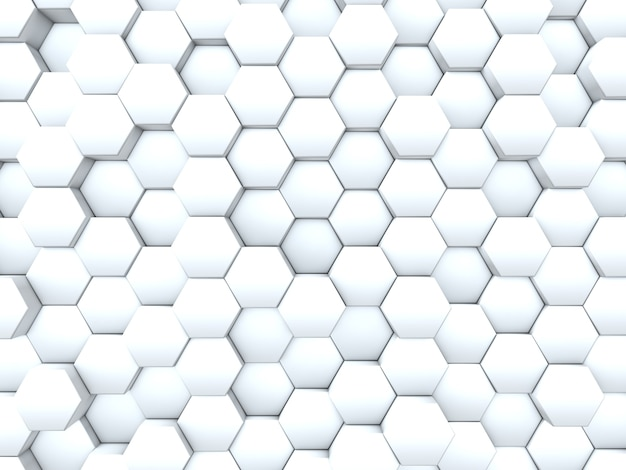 3d render of a background of a wall of extruding hexagons