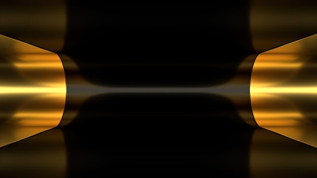 3d render background wallpaper abstraction gold black golden tunnel light lighting depth