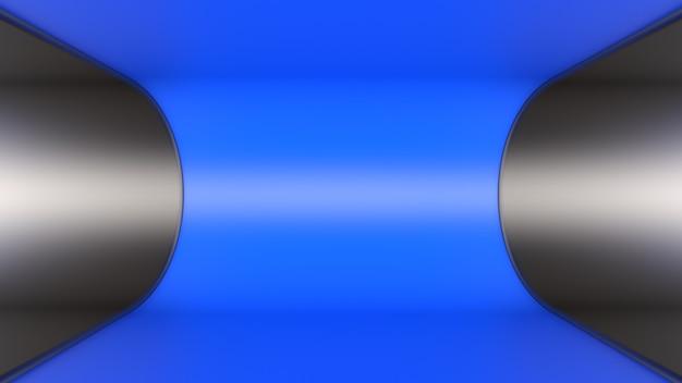 3dレンダリングの背景壁紙メタルブラックブルーサークルフロアトンネル光の深さ