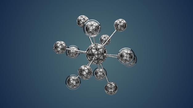 抽象セルで背景を3dレンダリングします。単純な分子構造を持つ概念的な生物学。