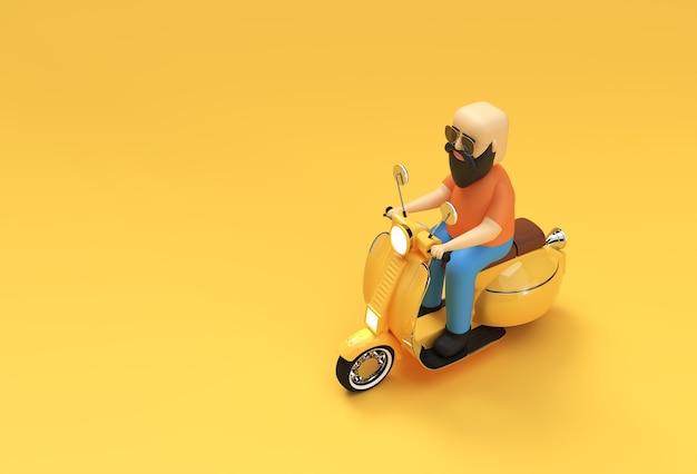 노란색 배경에 모터 스쿠터 측면 보기를 타고 3d 렌더링 대머리 남자.
