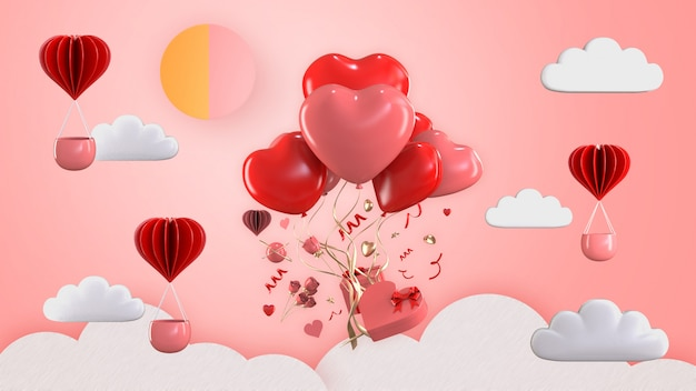 3d render balloon floating with valentine gift box ornaments