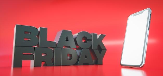 3d визуализация. баннер для продажи черная пятница. дизайн для продвижения или рекламы с помощью смартфона