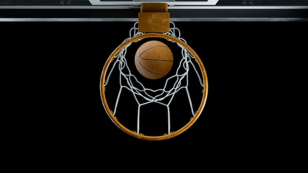 3d render basketball hit the basket on a black background