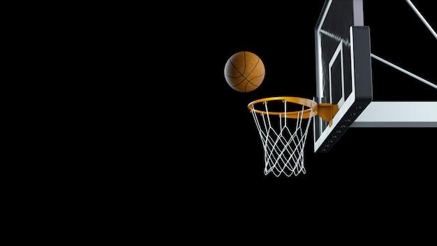 3d render basketball hit the basket on a black background