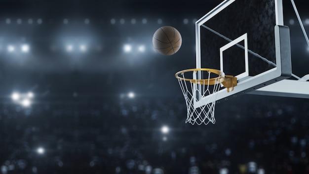 3 dレンダリングバスケットボールがバスケットをスローモーションで打つ