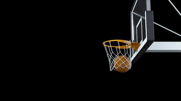 3d визуализации баскетбол попал в корзину на черном фоне
