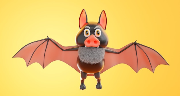 3d render of bat flying with halloween concept on orange background