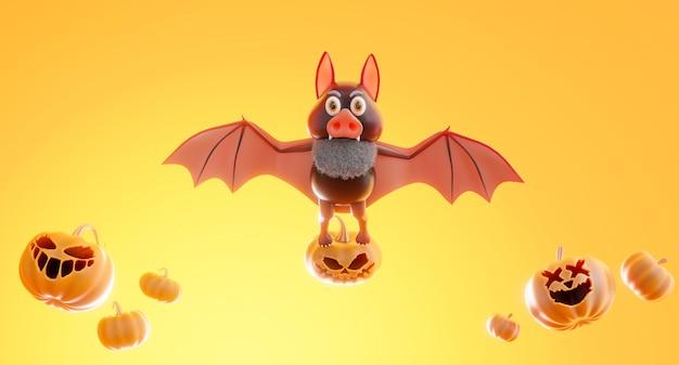 3d render of bat flying with halloween concept,pumpkin,candle on orange background