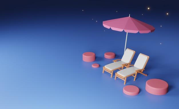 우주 공간에 3d 렌더링, 비치 의자와 비치 파라솔