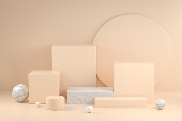 3d render beige podium collection  abstract background illustration