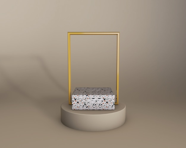 3d render of beige studio and terrazzo product stage with golden frame. trendy colors
