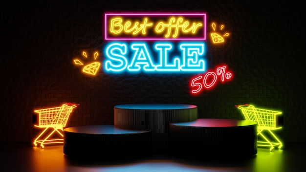 3d render of best offer sale with podium for product display