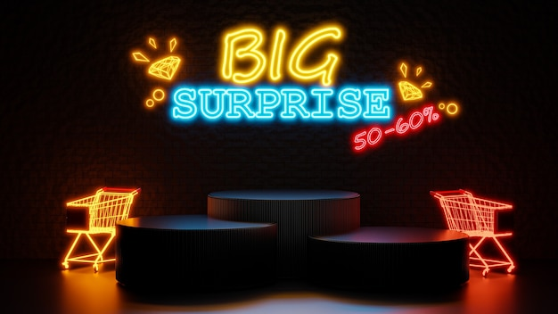 3d render of big surprise sale with podium for product display