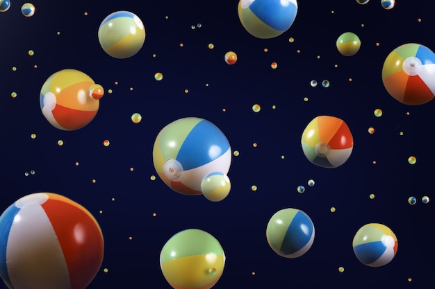 3d render big and tiny colorful beach balls floating around in a black background