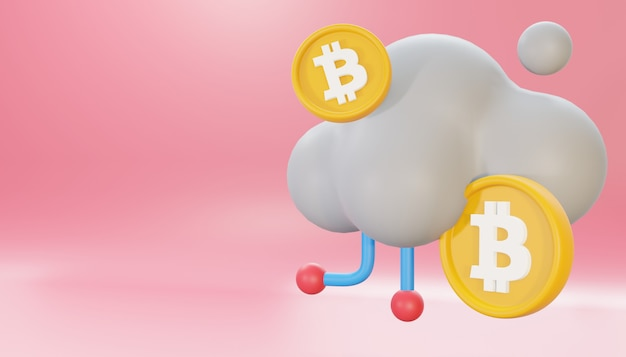 3d render bitcoin cloud