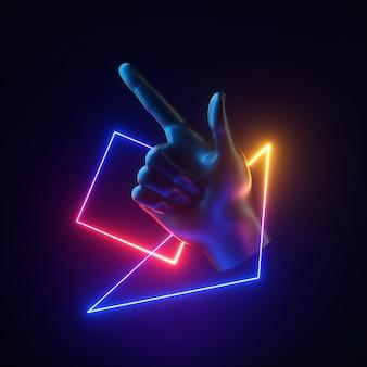 3d визуализация черной искусственной руки с парящими неоновыми геометрическими объектами