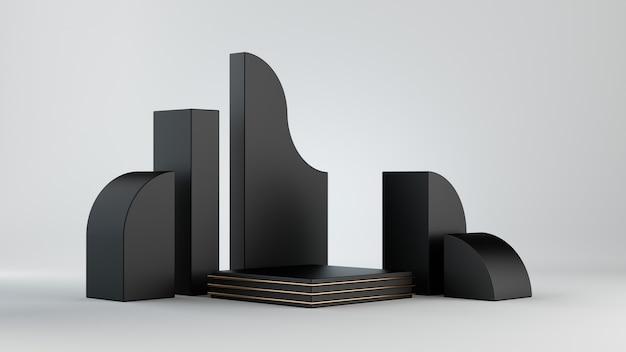 3d визуализация, черные блоки, изолированные на белом фоне.