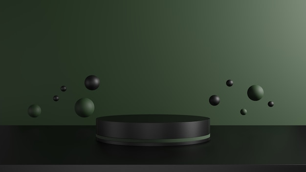 3d render, black and dark green pedestal on green background surrounded by sphere, abstract minimal concept, blank space, luxury minimalist