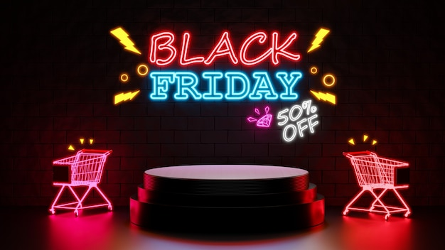 3d render of black friday 50 percentage off with podium for product display
