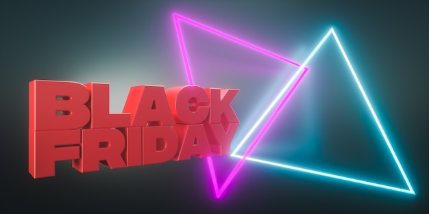 3d render. black friday sale banner with luminous neon lights copy space