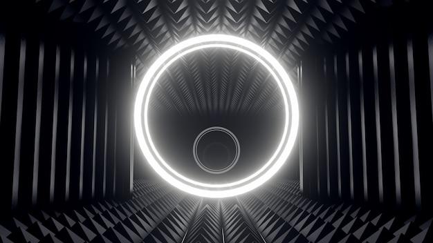 3d render black geometrical background with round white led light