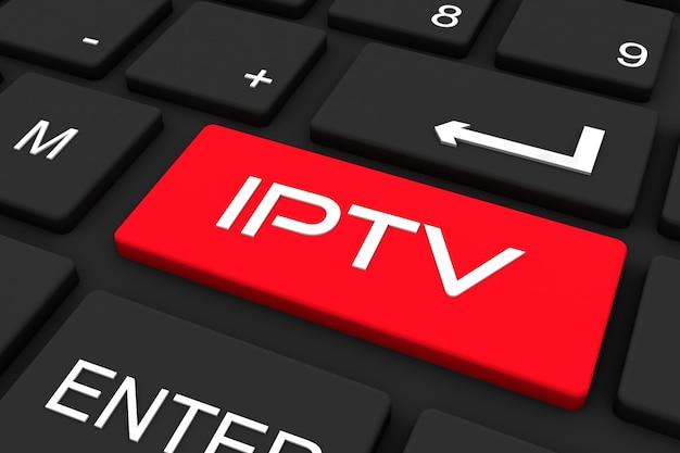 3dレンダリング。 iptvキー、ビジネスと技術の概念の背景を持つ黒のキーボード