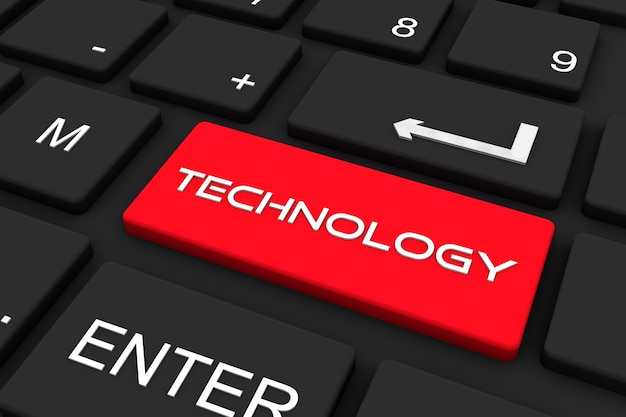 3d 렌더링. 기술 키, 비즈니스 및 기술 개념 배경으로 검은 키보드