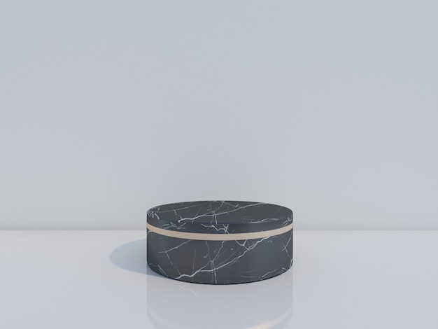 흰색 배경에 고립 된 3d 렌더링 검은 대리석 연단