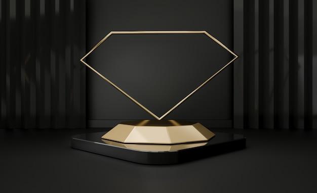 3d render of black pedestal steps isolated on black