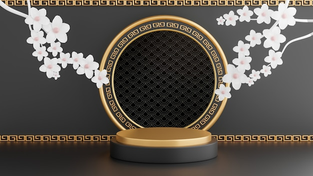 3d render of black podium chinese decoration for product presentration