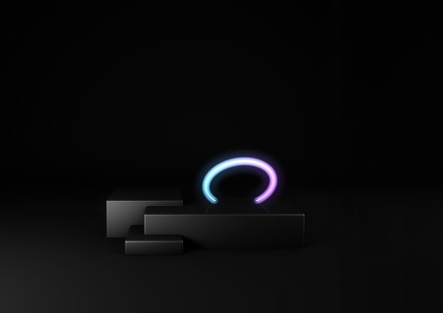 3d render of black stage and neon circle. product showcase. neon cyberpunk