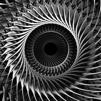 3d render of black and white abstract art of 3d background with part of surreal  mechanical industrial turbine jet engine