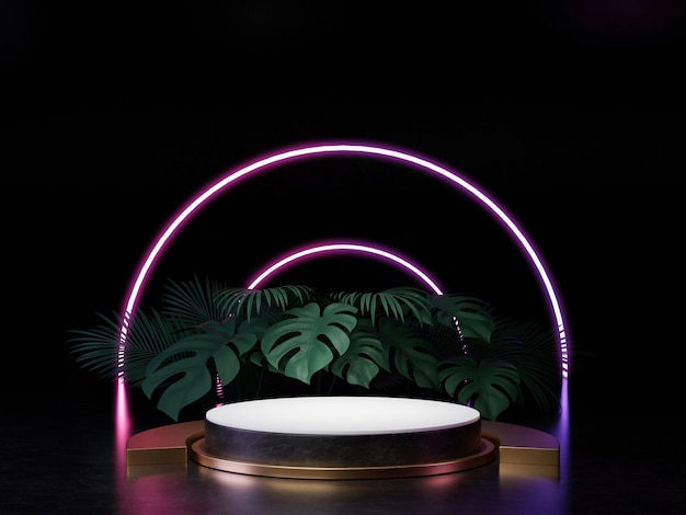 3d render of black white and gold pedestal podium on wall with neon stage light abstract minimal concept decorate with plant, blank space luxury minimal clean design 3d product present .