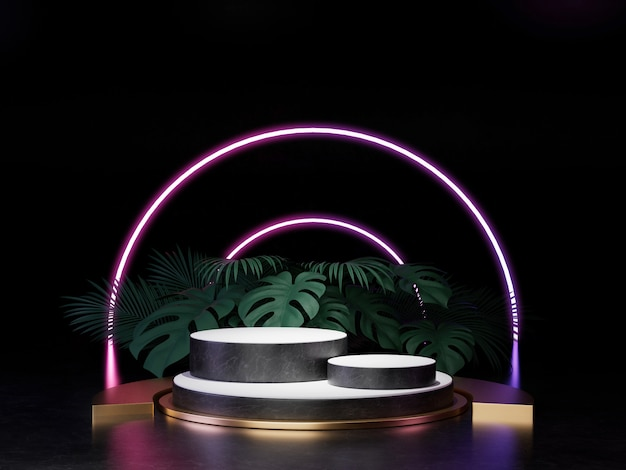 3d render of black white and gold pedestal podium on wall with neon stage light abstract minimal concept decorate with plant, blank space luxury minimal clean design 3d product present . Premium Photo