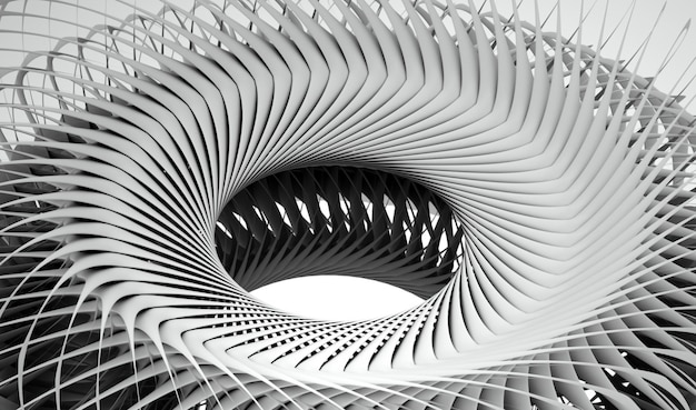 3d render of black and white monochrome abstract art of surreal turbine jet engine